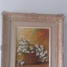 Arte: CANDIDO ORTI- CESTA DE FLORES- ENMARCADO. Lote 184203665