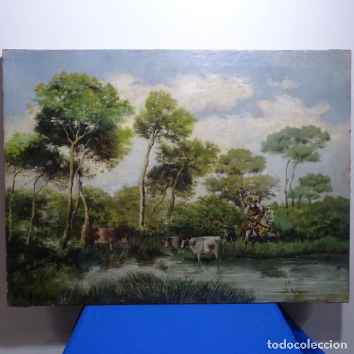 OLEO REENTELADO ANONIMO DEL XIX.BUEN TRAZO. (Arte - Pintura - Pintura al Óleo Moderna siglo XIX)
