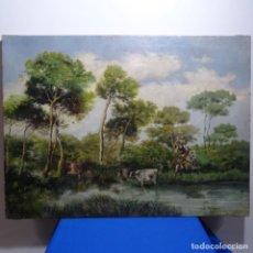 Arte: OLEO REENTELADO ANONIMO DEL XIX.BUEN TRAZO.. Lote 184219361