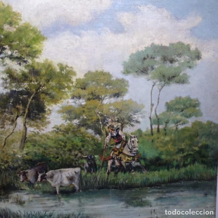 Arte: Oleo reentelado anonimo del XIX.buen trazo. - Foto 3 - 184219361