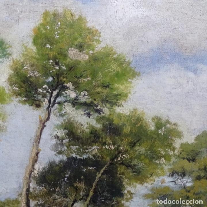 Arte: Oleo reentelado anonimo del XIX.buen trazo. - Foto 5 - 184219361