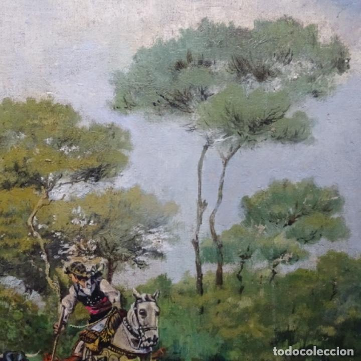 Arte: Oleo reentelado anonimo del XIX.buen trazo. - Foto 6 - 184219361