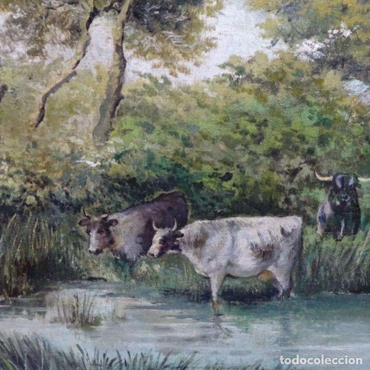 Arte: Oleo reentelado anonimo del XIX.buen trazo. - Foto 7 - 184219361