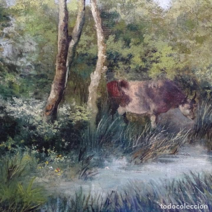 Arte: Oleo reentelado anonimo del XIX.buen trazo. - Foto 8 - 184219361