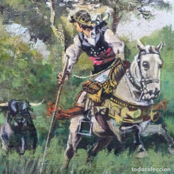 Arte: Oleo reentelado anonimo del XIX.buen trazo. - Foto 10 - 184219361