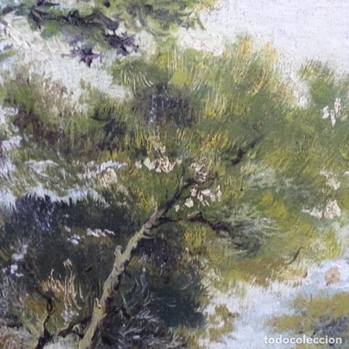 Arte: Oleo reentelado anonimo del XIX.buen trazo. - Foto 12 - 184219361