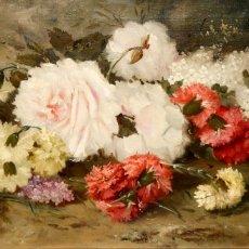 Arte: FIRMADO LORIN. OLEO SOBRE TELA DE APROXIMADAMENTE 1900. FLORES. Lote 184239130