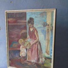 Arte: PINTURA OLEO FIRMADO TOMA MUJER CON BOTIJO Y NIÑO. Lote 184253898
