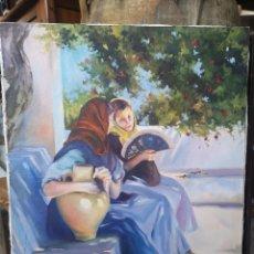 Arte: ÓLEO SOBRE LIENZO, MUJERES SENTADAS, FIRMADO GARRALDA. 46X55CM. Lote 184270478