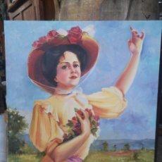 Arte: ÓLEO SOBRE LIENZO, MUJER CON FLORES, FIRMADO GARRALDA. 46X55CM. Lote 184270628