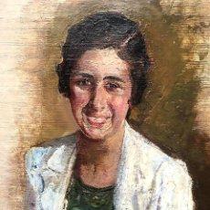 Arte: JESÚS BASIANO MARTÍNEZ PÉREZ (PAMPLONA 1889-1966) ÓLEO CON RETRATO FEMENINO. Lote 184372312