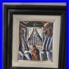 Arte: OLEO DE ANTONIO PAN (1926-2001) PASO DE SEMANA SANTA. Lote 184393042