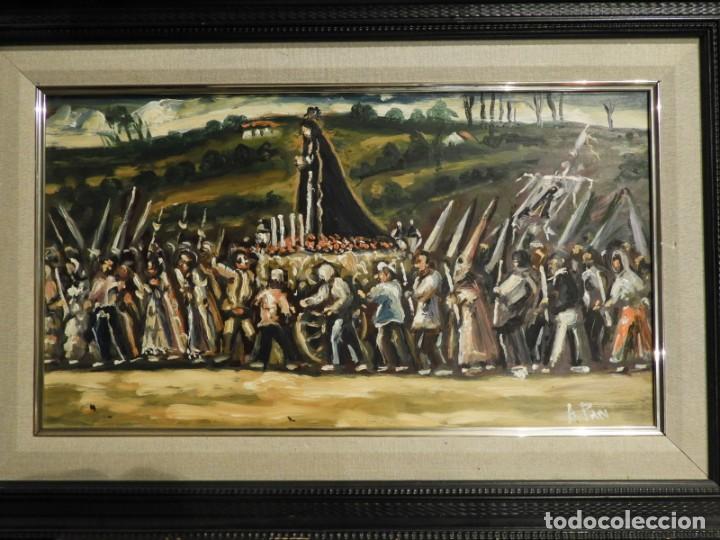 Arte: OLEO DE ANTONIO PAN (1926-2001) PASO DE SEMANA SANTA - Foto 2 - 184393680