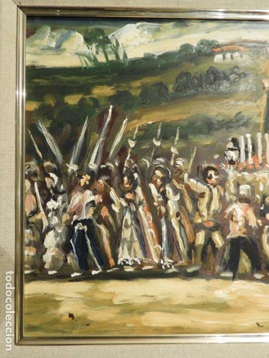 Arte: OLEO DE ANTONIO PAN (1926-2001) PASO DE SEMANA SANTA - Foto 4 - 184393680
