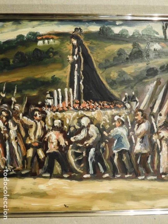 Arte: OLEO DE ANTONIO PAN (1926-2001) PASO DE SEMANA SANTA - Foto 5 - 184393680