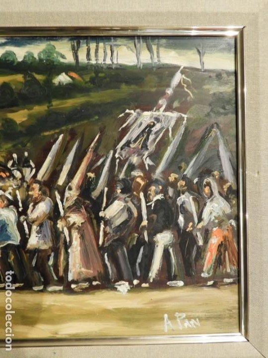 Arte: OLEO DE ANTONIO PAN (1926-2001) PASO DE SEMANA SANTA - Foto 6 - 184393680