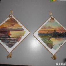 Arte: DOS ÓLEOS SOBRE MOSAICO DE RAFAEL GUARINOS -ALCOY (ALICANTE ). Lote 184456227