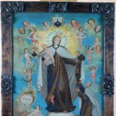 Arte: ÓLEO SOBRE LIENZO ALEGORÍA CARMELITA DE LA VIRGEN DEL CARMEN REENTELADO ESCUELA COLONIAL SIGLO XVIII. Lote 184525673