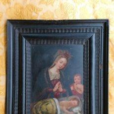Arte: VIRGEN CON EL NIÑO JESÚS Y SAN JUANITO. COBRE SIGLO XVII. Lote 184530608