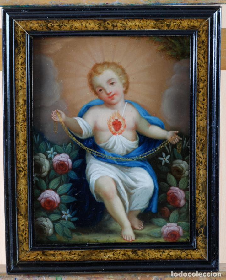 NIÑO JESÚS DEL SAGRADO CORAZÓN ÓLEO SOBRE COBRE ESCUELA ESPAÑOLA PRINCIPIOS DEL SIGLO XVIII (Arte - Pintura - Pintura al Óleo Antigua siglo XVIII)