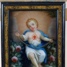 Arte: NIÑO JESÚS DEL SAGRADO CORAZÓN ÓLEO SOBRE COBRE ESCUELA ESPAÑOLA PRINCIPIOS DEL SIGLO XVIII. Lote 184531335