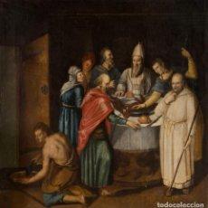 Arte: ESCUELA FLAMENCA S. XVI. ÓLEO/LIENZO 108 X 106 CM. INTERIOR CON PERSONAJES. DOBLE REENTELADO.. Lote 184628638