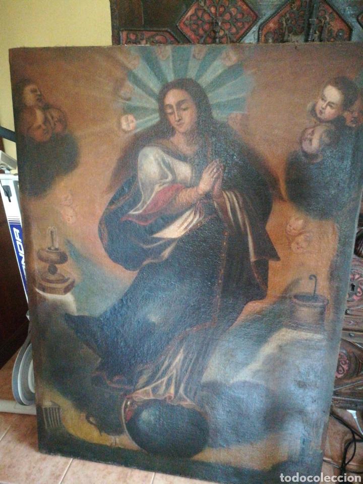 VIRGEN ÓLEO SOBRE LIENZO. SIGLO XVII GRAN TAMAÑO (Arte - Pintura - Pintura al Óleo Antigua siglo XVII)