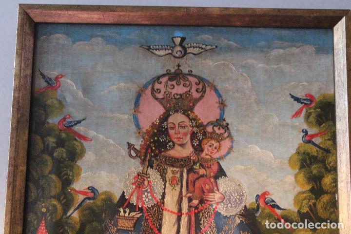 Arte: VIRGEN DE CANDELARIA, MEDELLÍN, CUZCO?, ÓLEO SOBRE TELA, ANÓNIMO. MARCO: 41x32 CM; PINTURA: 29x38 CM - Foto 2 - 184701213