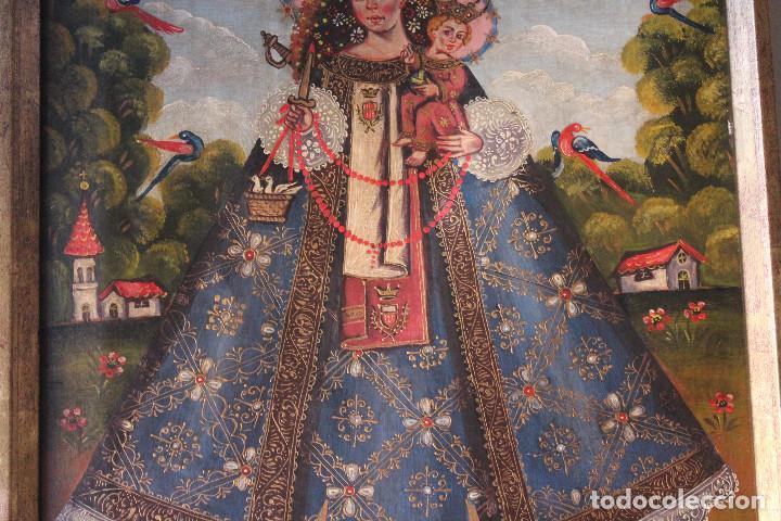Arte: VIRGEN DE CANDELARIA, MEDELLÍN, CUZCO?, ÓLEO SOBRE TELA, ANÓNIMO. MARCO: 41x32 CM; PINTURA: 29x38 CM - Foto 3 - 184701213