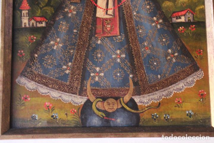 Arte: VIRGEN DE CANDELARIA, MEDELLÍN, CUZCO?, ÓLEO SOBRE TELA, ANÓNIMO. MARCO: 41x32 CM; PINTURA: 29x38 CM - Foto 4 - 184701213