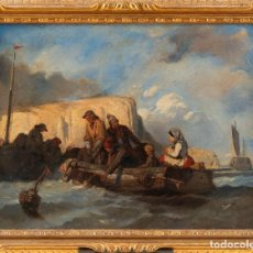 Arte: ESCUELA FRANCESA S.XIX - TÉCNICA: OLEO SOBRE CARTÓN - TÍTULO: PESCADORES EN EL MAR - 40,5X54. Lote 184728003