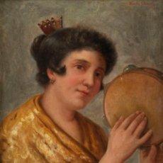 Arte: RICARDO CLAUSELLS. 1865 - 1939 - TÉCNICA: OLEO SOBRE LIENZO - TÍTULO: MUJES CON PANDERETA. Lote 184729206