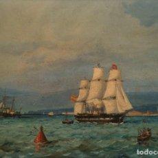 Arte: ANTONIO CAULA. LA CORUÑA 1847 - TÉCNICA: OLEO SOBRE TABLA - TÍTULO: FRAGATAS. Lote 184729383