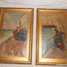 Arte: DOS MARINAS AL ÓLEO DE C. CALATAYUD -PRICIPIO DE 1900. Lote 184779863