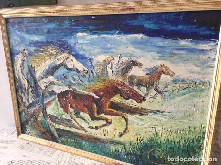 GRAN ÓLEO CABALLOS A ESPÁTULA FIRMADO CANO (Arte - Pintura - Pintura al Óleo Moderna siglo XIX)