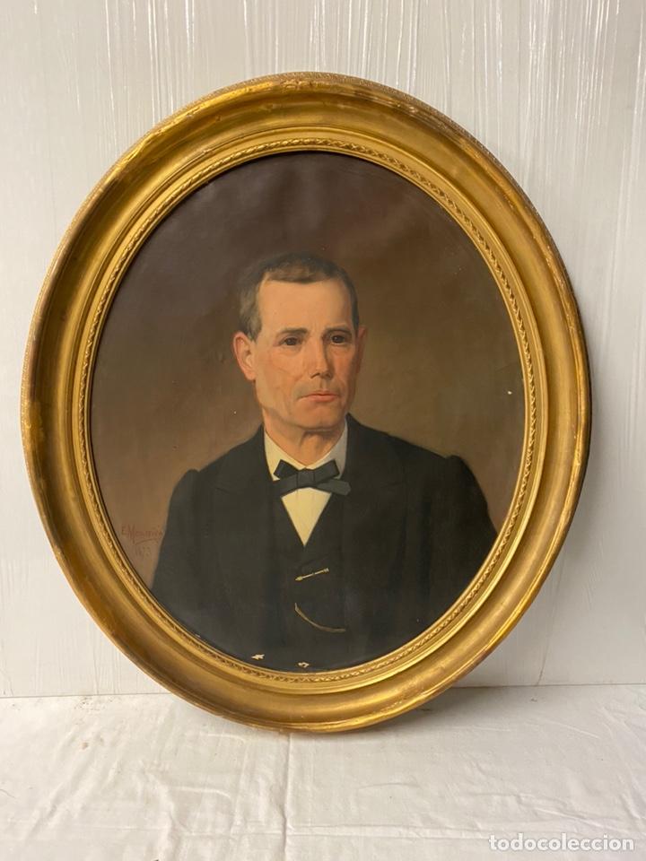 Arte: Antiguo retrato hombre, caballero por Enric Monserdà i Vidal 1875. 80x70. Marco dorado fino. - Foto 2 - 184932356