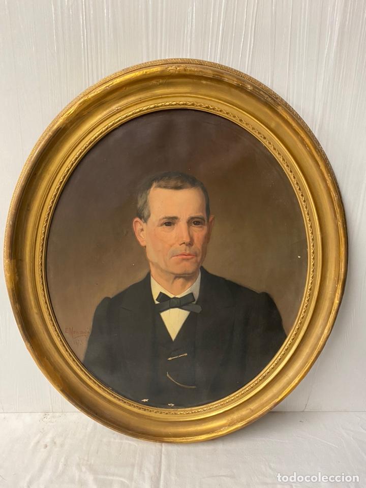 Arte: Antiguo retrato hombre, caballero por Enric Monserdà i Vidal 1875. 80x70. Marco dorado fino. - Foto 3 - 184932356