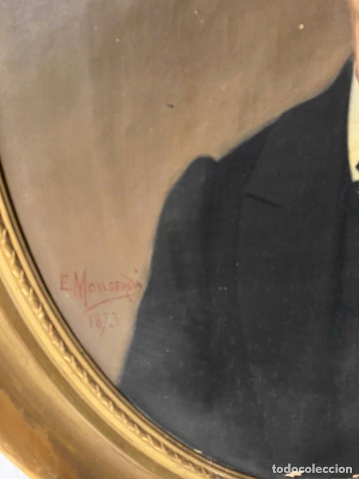 Arte: Antiguo retrato hombre, caballero por Enric Monserdà i Vidal 1875. 80x70. Marco dorado fino. - Foto 4 - 184932356