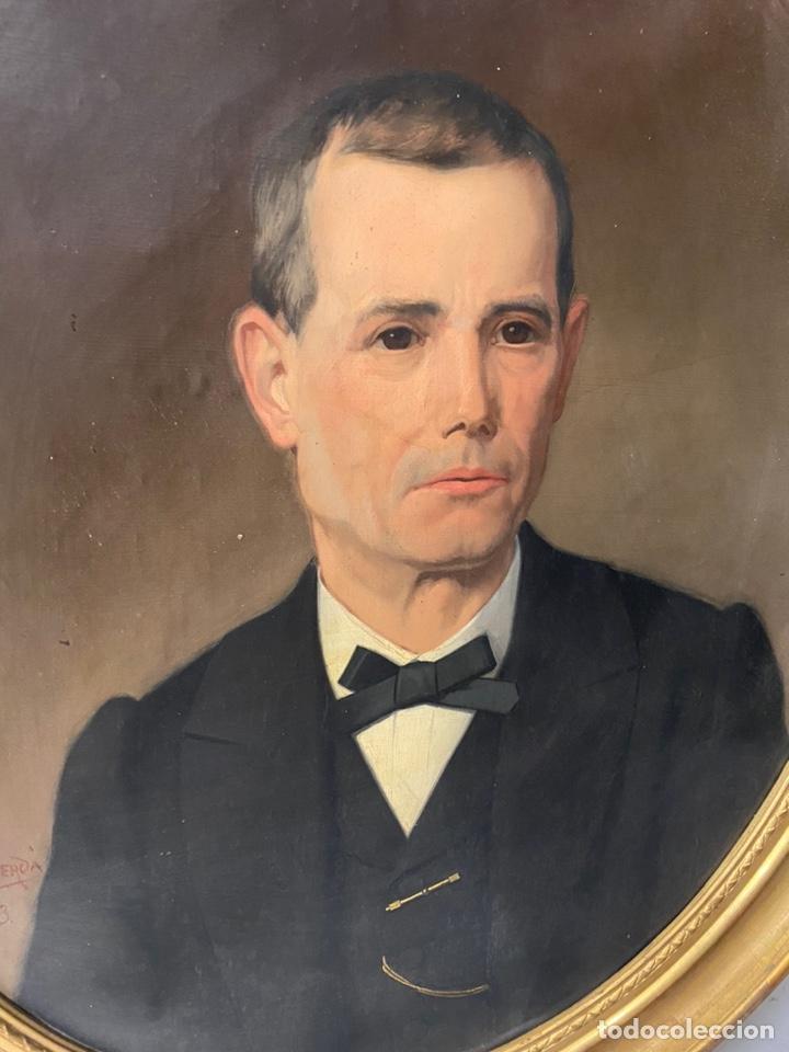 Arte: Antiguo retrato hombre, caballero por Enric Monserdà i Vidal 1875. 80x70. Marco dorado fino. - Foto 5 - 184932356