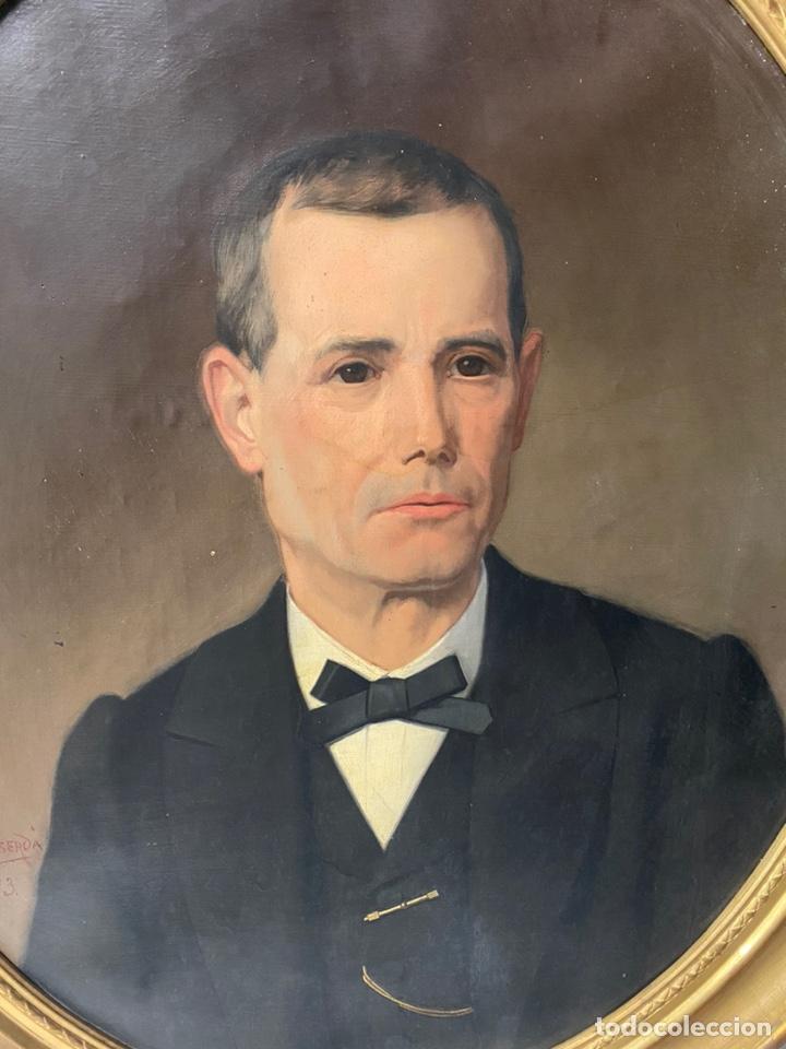 Arte: Antiguo retrato hombre, caballero por Enric Monserdà i Vidal 1875. 80x70. Marco dorado fino. - Foto 6 - 184932356
