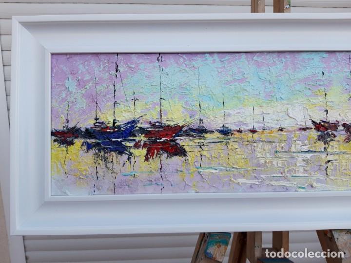 Arte: cuadro al oleo sobre lienzo ,,selencio,,con marco. - Foto 3 - 185391601