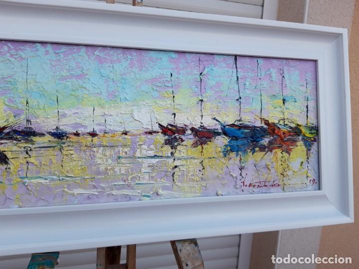 Arte: cuadro al oleo sobre lienzo ,,selencio,,con marco. - Foto 4 - 185391601