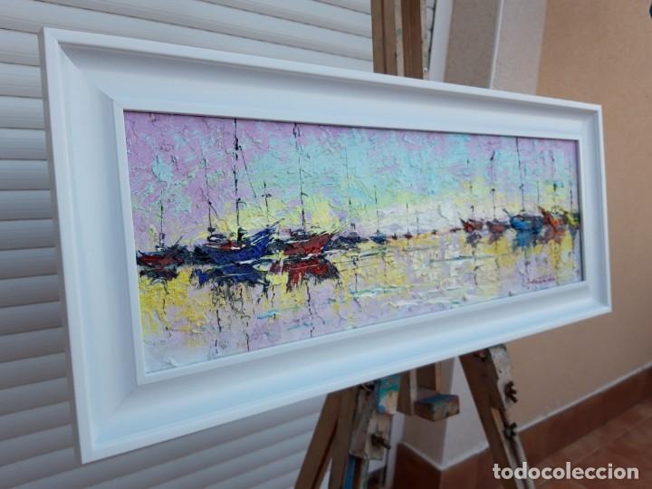 Arte: cuadro al oleo sobre lienzo ,,selencio,,con marco. - Foto 5 - 185391601