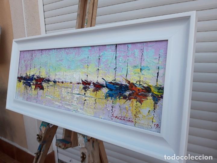 Arte: cuadro al oleo sobre lienzo ,,selencio,,con marco. - Foto 6 - 185391601