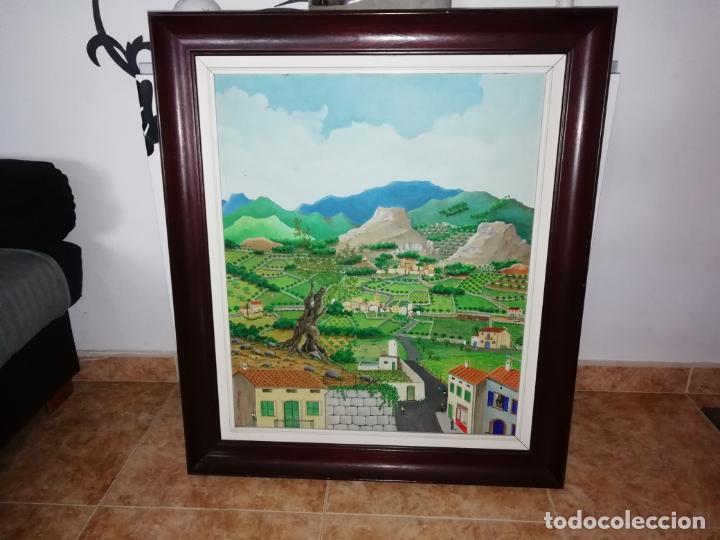 MARAVILLOSA PINTURA NAÏF DE CHEMMY CID DE DIEGO S' OLIVERA MALLORCA 1982. ÓLEO ,ACUARELA. 53 X 63 CM (Arte - Pintura - Pintura al Óleo Contemporánea )