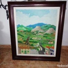 Arte: MARAVILLOSA PINTURA NAÏF DE CHEMMY CID DE DIEGO S' OLIVERA MALLORCA 1982. ÓLEO ,ACUARELA. 53 X 63 CM. Lote 185593620