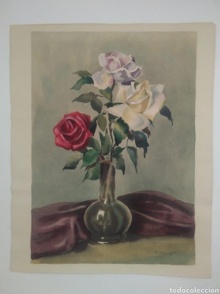 GUILLERMO FRESQUET ACUARELA MOTIVO FLORAL (Arte - Pintura - Pintura al Óleo Moderna sin fecha definida)
