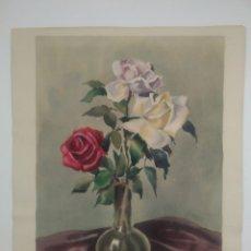 Arte: GUILLERMO FRESQUET ACUARELA MOTIVO FLORAL. Lote 185659602