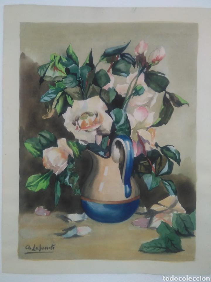 A. LAFUENTE ACUARELA MOTIVO FLORAL (Arte - Pintura - Pintura al Óleo Moderna sin fecha definida)