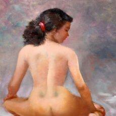 Arte: PETER ALCANTARA (FILIPINAS, 1925 - ??) OLEO SOBRE TELA. DESNUDO DE ESPALDAS. Lote 185756955